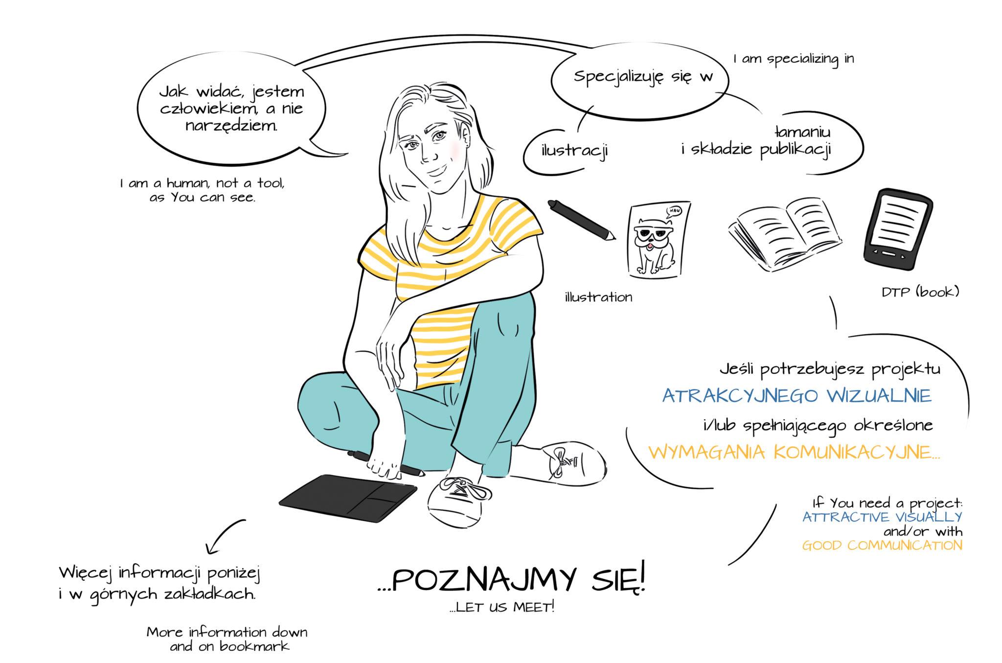Ilustracja: grafik-ilustrator, łamanie, skład tekstu