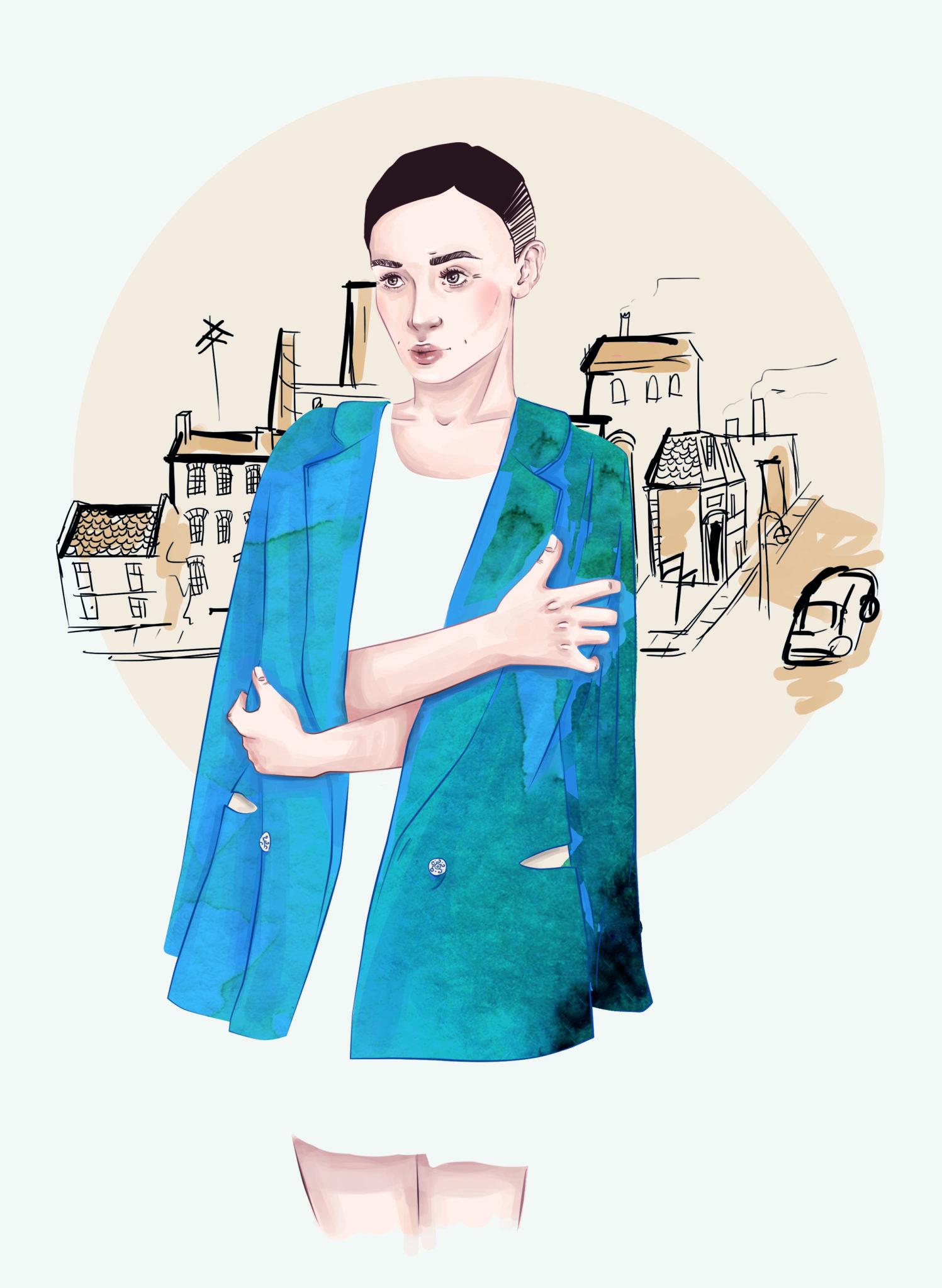 Ilustracja przedstawiająca kobietę w niebieskim płaszczu