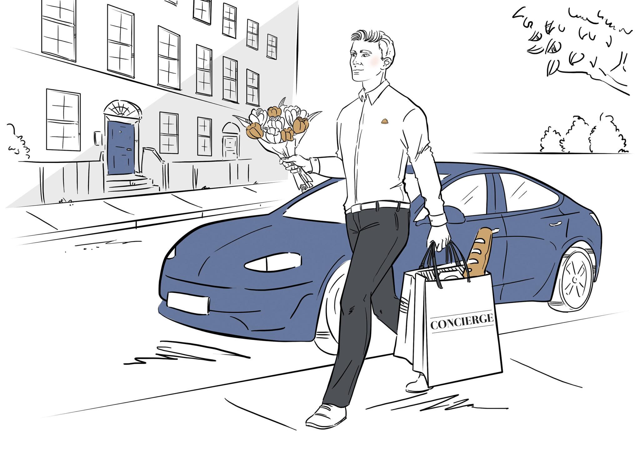 Mężczyzna dostarcza zakupy