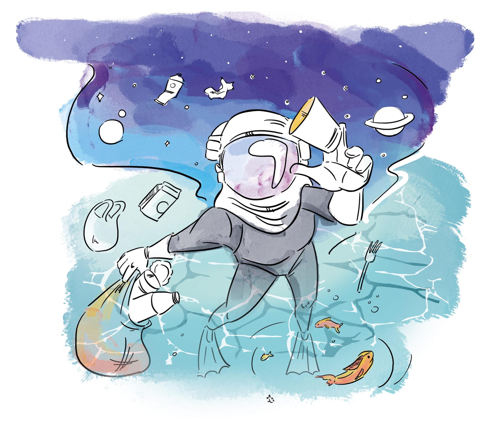 Ilustracja nurka i kosmonauty zbierającego śmieci z nieba i morza