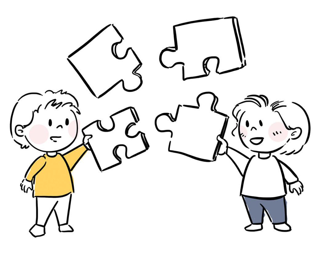 Ilustracja postaci składających razem puzzle
