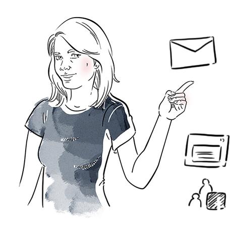 Ilustracja przedstawiająca postać dziewczyny w granatowej koszulce wskazującą na list.