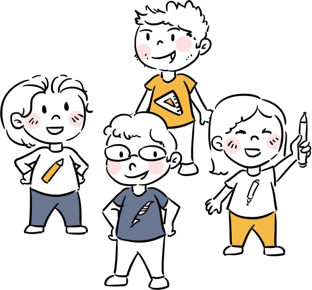 Ilustracja grupy postaci