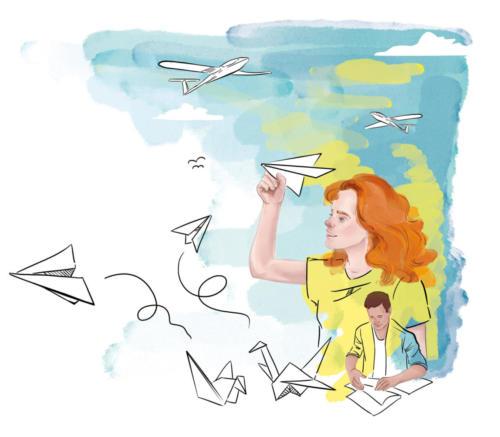 Ilustracja przedstawiająca dziewczynę puszczającą papierowe samolociki