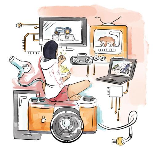 Dziewczyna oglądająca telewizję.