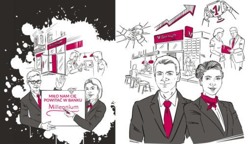 Projekt ilustracji na torbę i notatnik - gadżety dla pracowników, bank Millenium